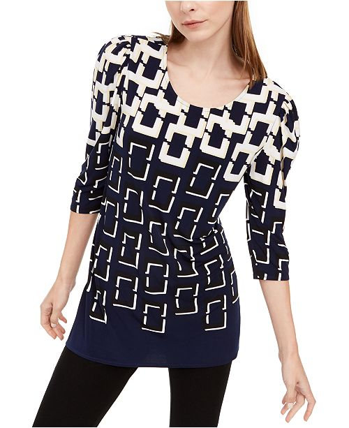 Alfani Petite Printed Tunic, Created For Macy's