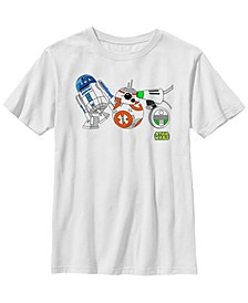 Big Boys Cartoon R2-D2 BB-8 D-O Droid Lineup Short Sleeve T-Shirt