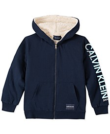 Big Boys Navy Blue Fleece-Lined Full-Zip Logo Hoodie