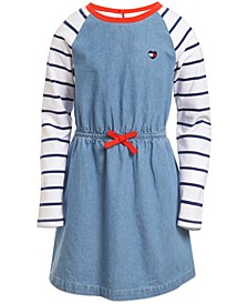 Little Girls Cotton Stripe-Sleeve Denim Dress