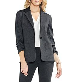 Petite Ruched-Sleeve Ponté-Knit Blazer
