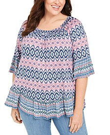Plus Size Printed Ruffle-Hem Top, Created for Macy's