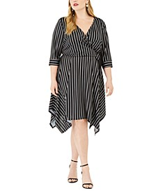 Trendy Plus Size Handkerchief-Hem Wrap Dress