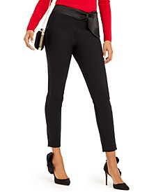 INC Petite Bow-Waistband Skinny Pants, Created For Macy's