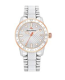 Women's Silicone Center Silver-Tone Steel Bracelet Strap Watch, 36mm