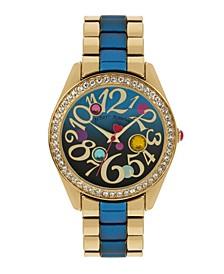 Women's Blue Gradient Link Gold Tone Metal Bracelet Strap Watch 40Mm