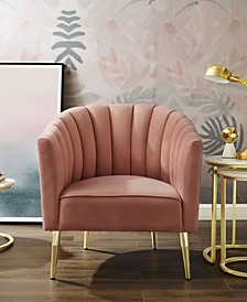 Cecilio Velvet Tufted Accent Chair with Tapered Metal Legs