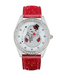 Women's Snowman Swing Dial Red Leather Strap Watch 40Mm