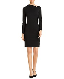 Mozelle Asymmetrical-Neck Sheath Dress
