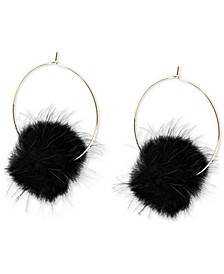 """Large Gold-Tone Faux-Fur Pom-Pom Hoop Earrings, 2.5"""""""