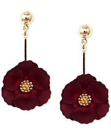 18k Gold-Plated Suede-Painted Flower Drop Earrings