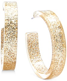 Gold-Tone Medium Glitter Resin Hoop Earrings, 1.5""