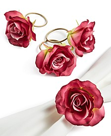 Valentine's Day Pink Rose Napkin Rings, Set of 4, Created For Macy's