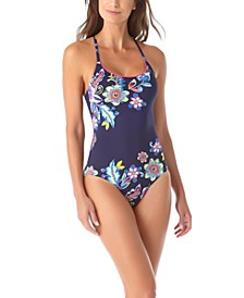 Holiday Paisley Cross-Back One-Piece Swimsuit