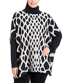 Plus Size Abstract Turtleneck Poncho