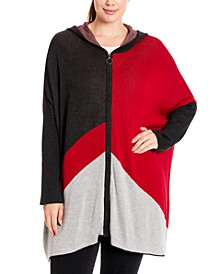 Plus Size Colorblocked Hooded Zip-Front Poncho