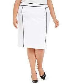 Plus Size Contrast Piping Pencil Skirt