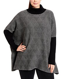 Plus Size Optic Diamond Turtleneck Poncho