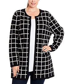 Plus Size Windwopane Open-Front Cardigan