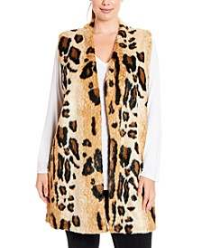 Plus Size Leopard Faux-Fur Sweater Vest