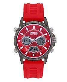 Men's Red Silicon Strap Analog-Digital Watch, 46mm