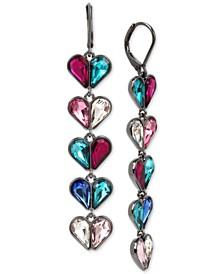 Hematite-Tone Stone Hearts Linear Earrings