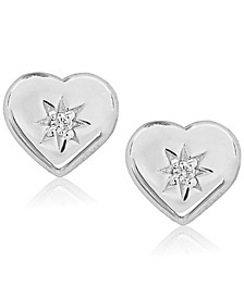 Children's Diamond Accent Heart Stud Earrings in Sterling Silver