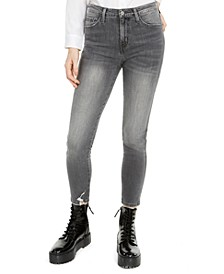 Distressed High-Rise Cropped Skinny Jeans