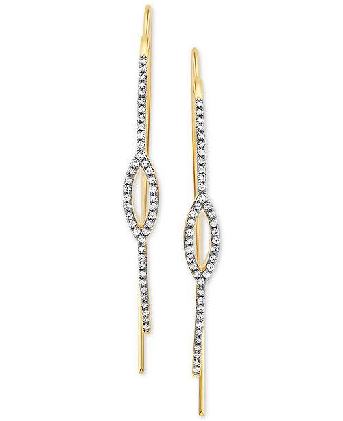 Macy's Diamond Threader Earrings (1/4 ct. t.w.) in 14k Gold
