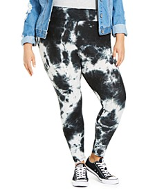 Trendy Plus Size Tie-Dyed Leggings