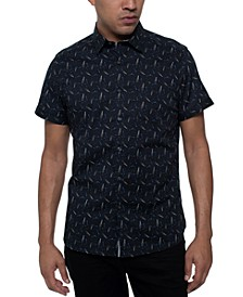 Men's Stretch Glass-Print Shirt