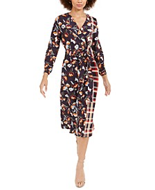 Anneli Mixed-Print Drape Dress