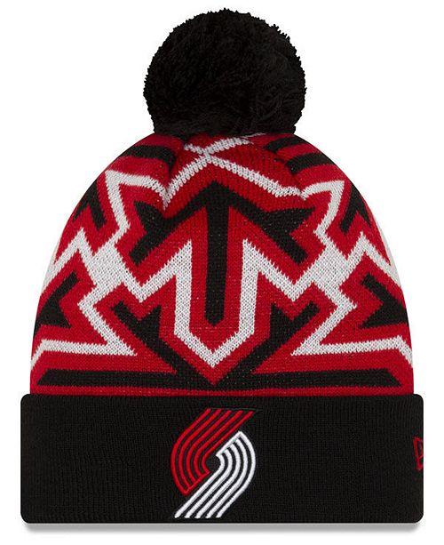 New Era Portland Trail Blazers Big Flake Pom Knit Hat