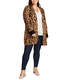 Trendy Plus Size Animal-Print Cardigan