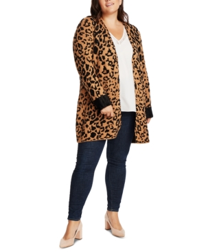 1.state Tops TRENDY PLUS SIZE ANIMAL-PRINT CARDIGAN