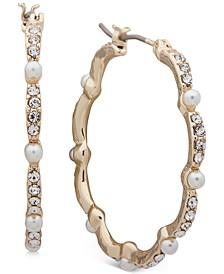 "Gold-Tone Medium Pavé & Imitation Pearl Scalloped Hoop Earrings, 1.25"""