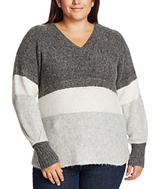 Trendy Plus Size Colorblocked Sweater