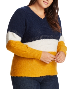1.state Sweaters TRENDY PLUS SIZE COLORBLOCKED SWEATER