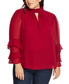Trendy Plus Size Smocked Ruffle-Sleeve Top