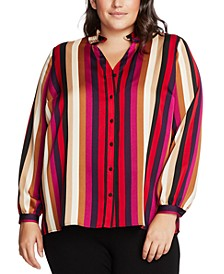 Plus Size Striped Button-Front Top
