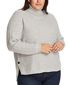 Trendy Plus Size High-Low Turtleneck Sweater