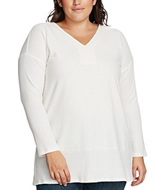 Plus Size Ribbed-Knit V-Neck Sweater