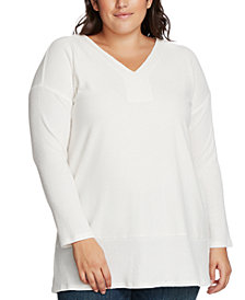 Vince Camuto Plus Size Ribbed-Knit V-Neck Sweater