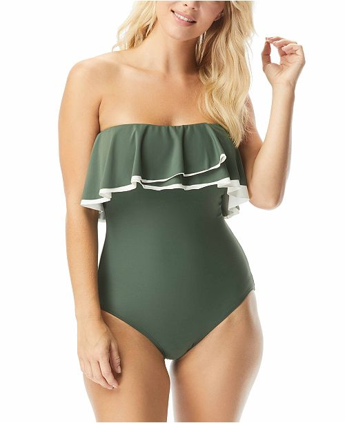 Coco Reef Contours Ruffled Strapless Tummy-Control One-Piece Swimsuit