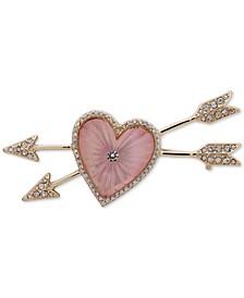 Gold-Tone Pavé Heart & Arrow Pin