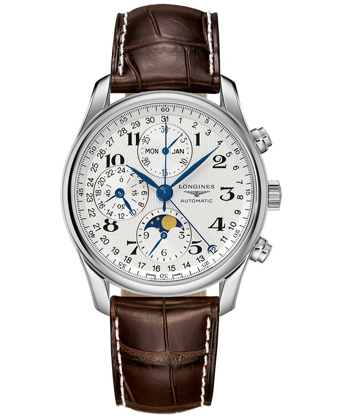 Longines - Men's Swiss Automatic Chronograph Master Brown Leather Strap Watch 40mm