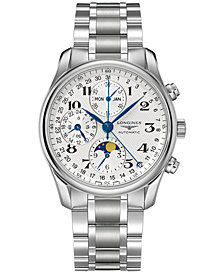 Longines Men's Swiss Automatic Chronograph Master Stainless Steel Bracelet Watch 40mm