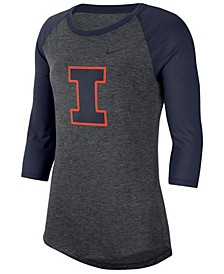 Women's Illinois Fighting Illini Logo Raglan T-Shirt