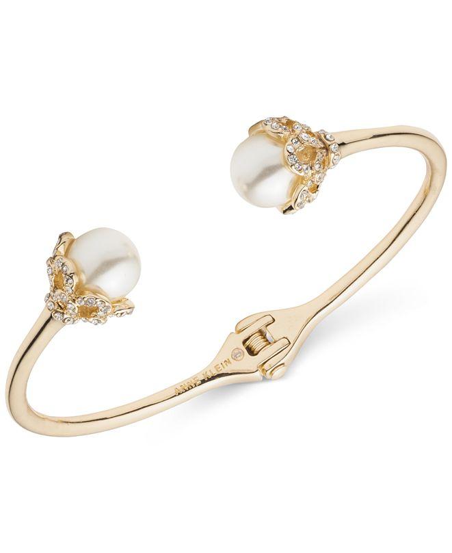 Anne Klein Gold-Tone Pavé & Imitation Pearl Cuff Bracelet