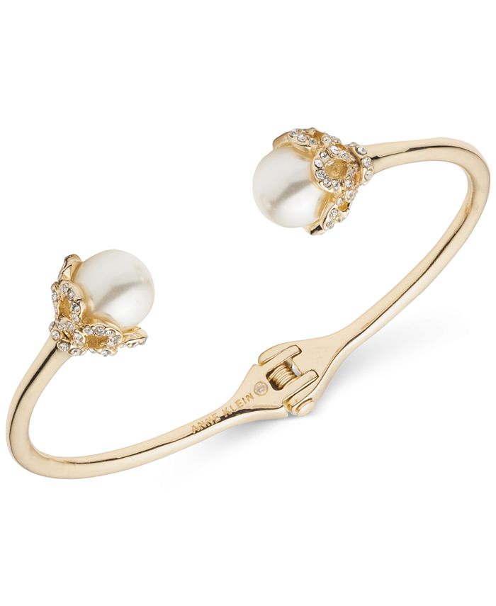 Anne Klein - Gold-Tone Pavé & Imitation Pearl Cuff Bracelet